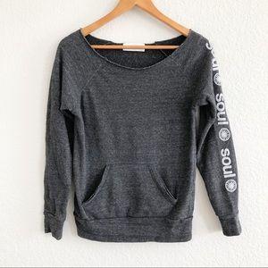 SoulCycle Gray Kangaroo Pocket Raw Hem Sweater